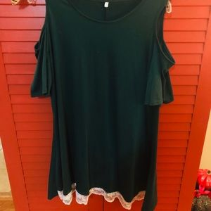 Dark green cold shoulder tunic with lace hem